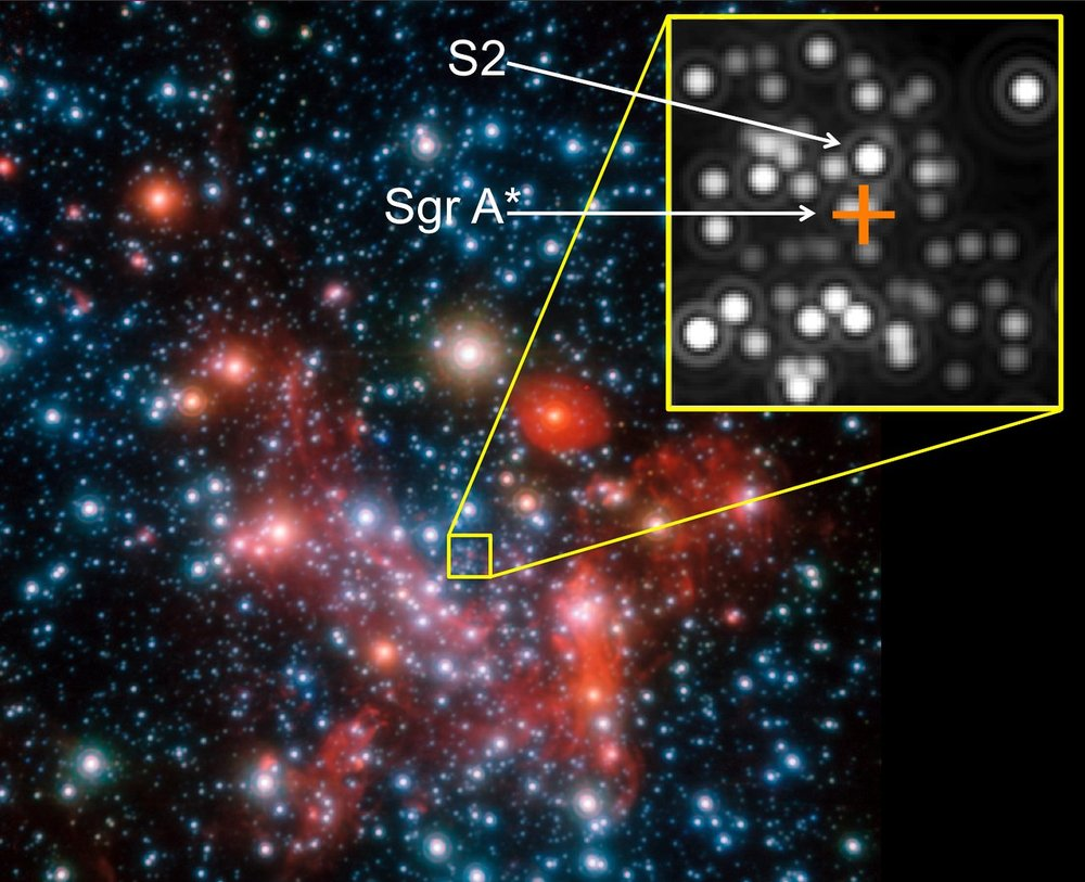 The central parts of our Galaxy, the Milky Way, as observed in the near-infrared with the NACO instrument on ESO's Very Large Telescope. Credit: ESO/MPE/S. Gillessen et al.