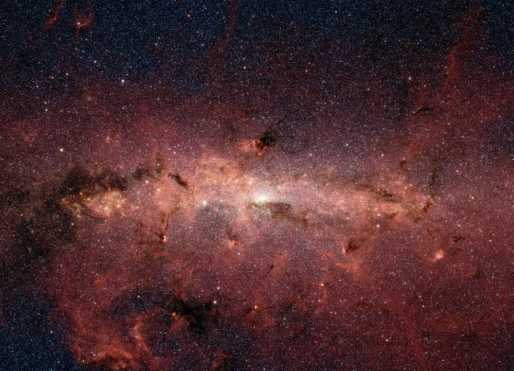 NASA's Spitzer Space Telescope captured this stunning infrared image of the center of the Milky Way Galaxy, where the black hole Sagitarrius A resides. - Image Credit: NASA/JPL-Caltech