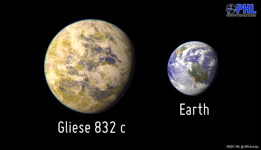 Artistic representation of the potentially habitable exoplanet Gliese 832c as compared with Earth. Credit: PHL/UPR Arecibo.