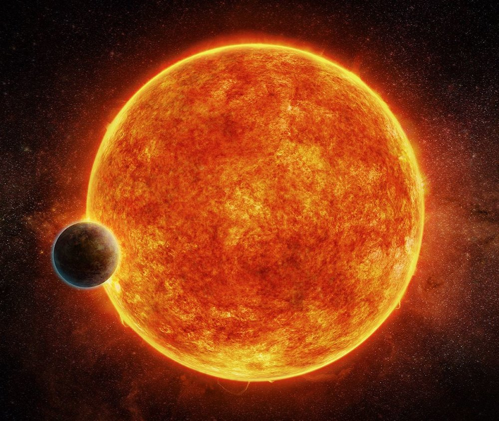 Artist's impression of a Super-Earth orbiting close to a red dwarf star. - Image Credit: M. Weiss/CfA