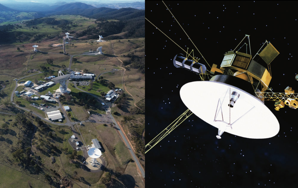 Both Voyager spacecraft are only in communication with Earth via a Canberra tracking station. - Image Credit: CSIRO (left) /NASA/JPL (right)