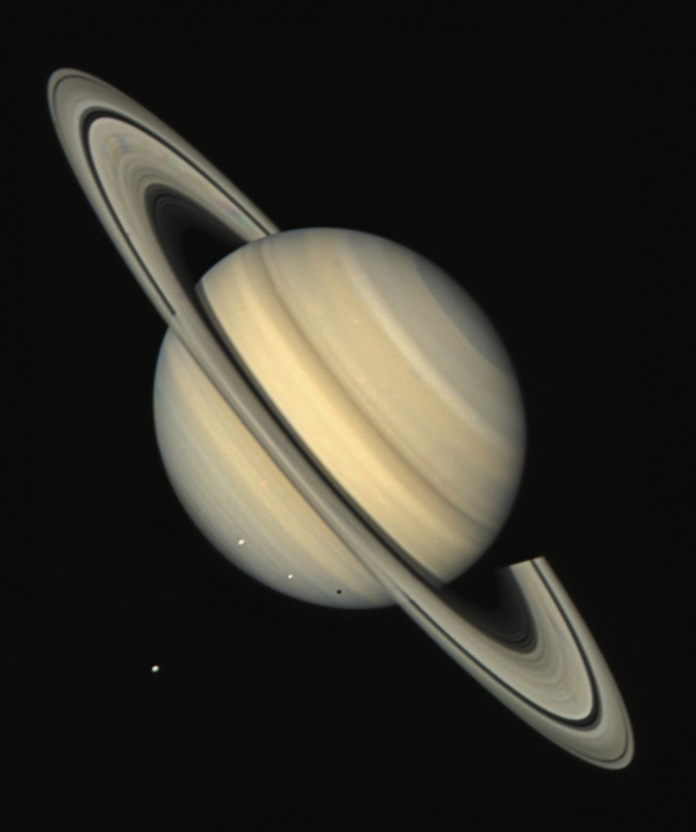 Both Voyagers passed by the ringed planet Saturn. - Image Credit: NASA/JPL