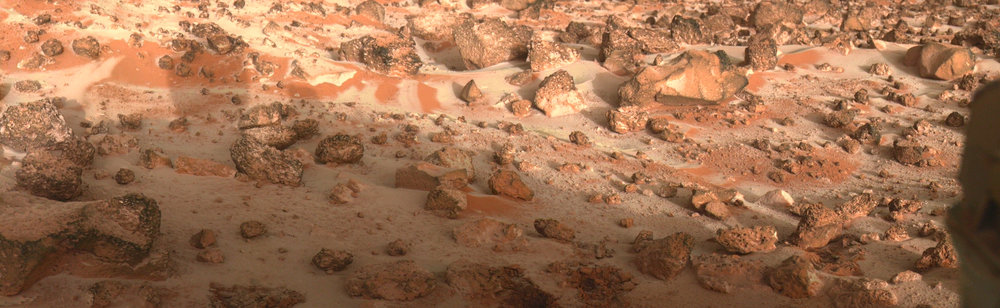 Frost or a light dusting of snow seen at the Viking 2 lander site, Utopia Planitia, Mars. - Image Credit:  Vandencbulek Eric ,  CC BY