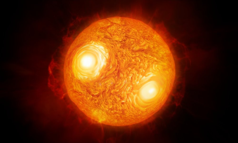This artist's impression shows the red supergiant star Antares in the constellation of Scorpius. Using ESO's Very Large Telescope Interferometer astronomers have constructed the most detailed image ever of this, or any star other than the Sun. Using the same data they have also made the first map of the velocities of material the atmosphere of a star other than the Sun. - Image Credit: ESO/M. Kornmesser