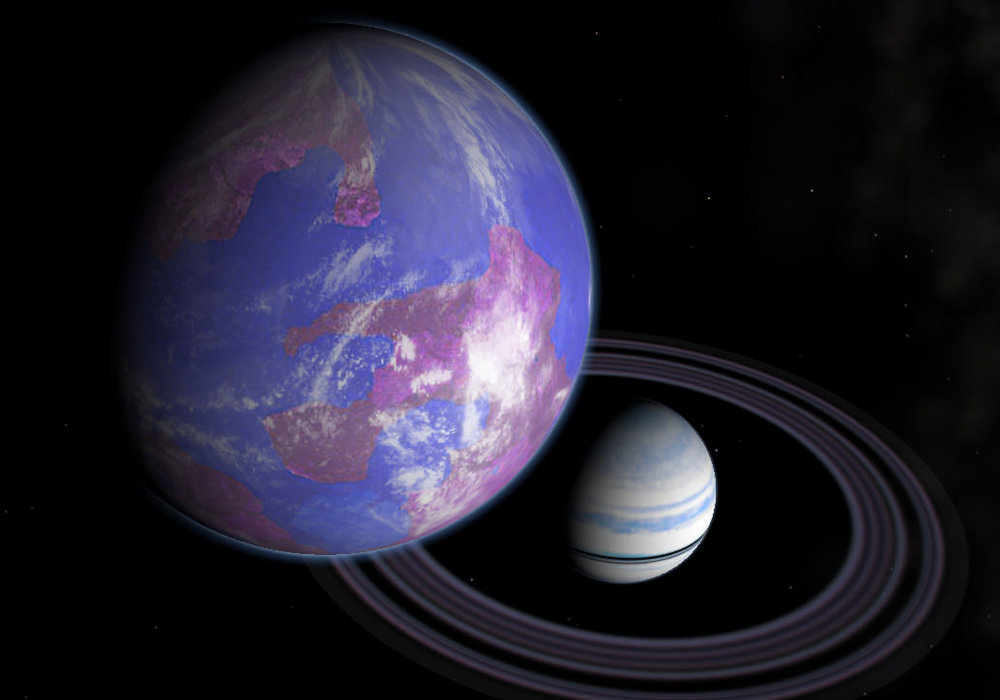 An artist impression of an exomoon orbiting a ringed exoplanet. - Image Credit: Andy McLatchie