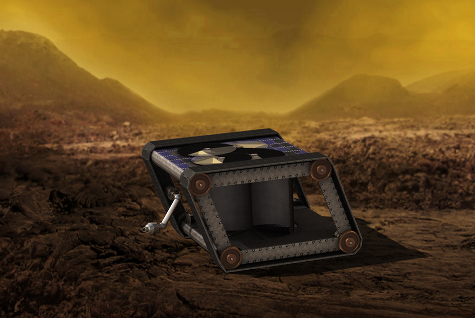 Artist's impression of the AREE clockwork rover operating on the surface of Venus. - Image Credit: NASA/JPL-Caltech
