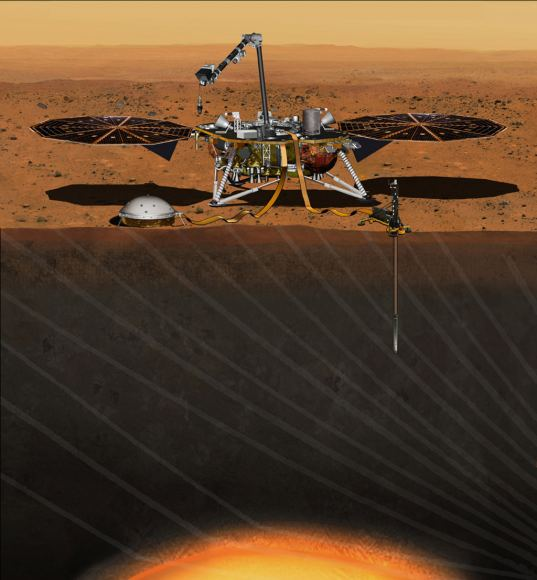 This artist's concept from August 2015 depicts NASA's InSight Mars lander fully deployed for studying the deep interior of Mars. - Image Credit: NASA/JPL-Caltech