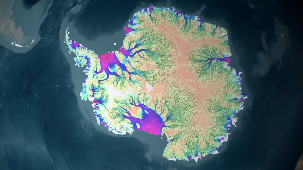 A velocity map of Antarctic ice streams as they move toward the ocean. - Image Credit: NASA/JPL,  CC BY-SA