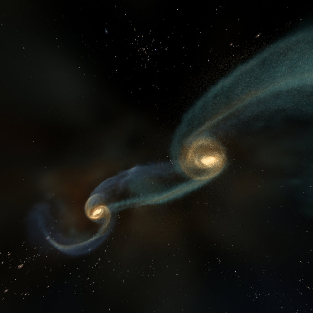 Colliding galaxies can force the supermassive black holes in their cores together - Image Credit: NCSA