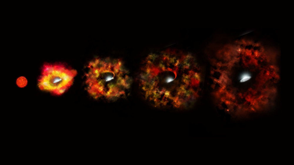 This illustration shows the final stages in the life of a supermassive star that fails to explode as a supernova, but instead implodes to form a black hole. - Image Credit: NASA/ESA/P. Jeffries (STScI)