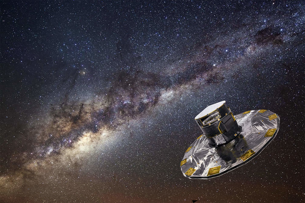 Artist's impression of the ESA's Gaia spacecraft, looking into the heart of the Milky WayGalaxy. - Image Credit: ESA/ATG medialab/ESO/S. Brunier