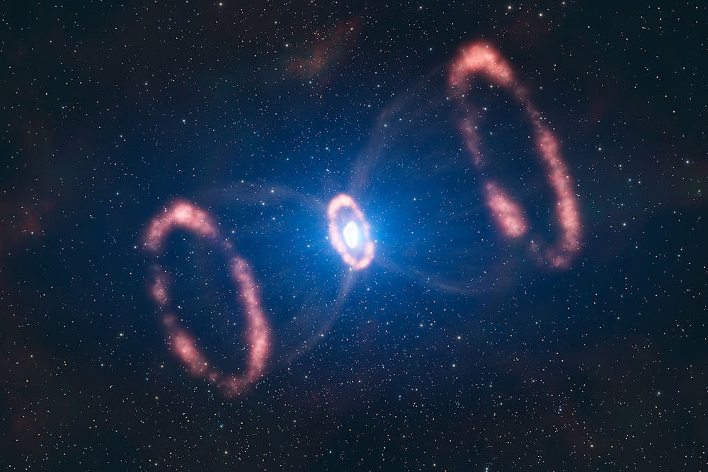 Artistic representation of the material around the supernova 1987A. - Image Credit: ESO/L. Calçada