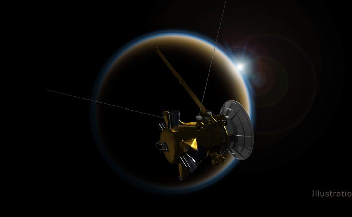 Illustration of the Cassini probe in orbit of Saturn. The probe will descend into Saturn's atmosphere on Sept. 15th, 2017. - Image Credit: NASA/JPL-Caltech