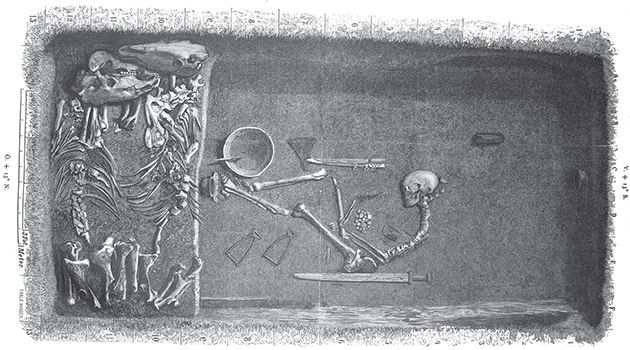 This illustration shows what the grave looked like when it was discovered in the 19th century -Illustration by Evald Hansen based on the original plan of the grave by excavator Hjalmar Stolpe, published in 1889.