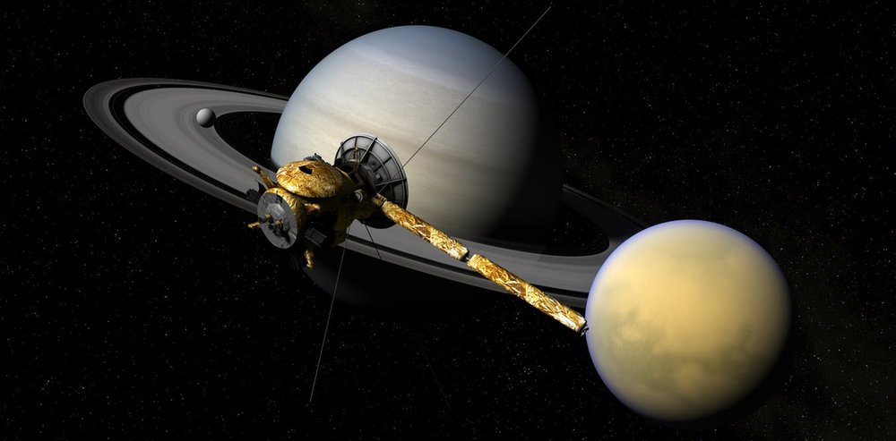 Cassini in front of The Lord of the Rings. - Image Credit: NASA