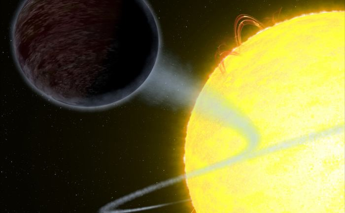Illustration showing one of the darkest known exoplanets - an alien world as black as fresh asphalt - orbiting a star like our Sun. The day side of the planet, called WASP-12b, eats light rather than reflects it into space. - Image Credit: NASA, ESA, and G. Bacon (STScI)