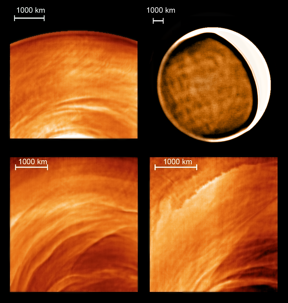 Examples of new types of cloud morphology discovered on the night side of Venus thanks to Venus Express (ESA) and the infrared telescope IRTF (NASA). - Image Credits: ESA/NASA/J. Peralta and R. Hueso.