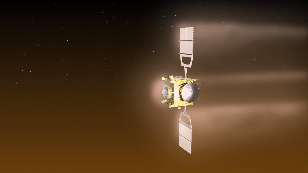 Artist's impression of Venus Express performing aerobreaking maneuvers in the planet's atmosphere in June and July 2014. - Image Credit: ESA–C. Carreau