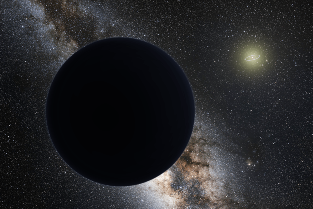 Artist's impression of Planet Nine, blocking out the Milky Way. The Sun is in the distance, with the orbit of Neptune shown as a ring. - Image Credit: ESO/Tomruen/nagualdesign