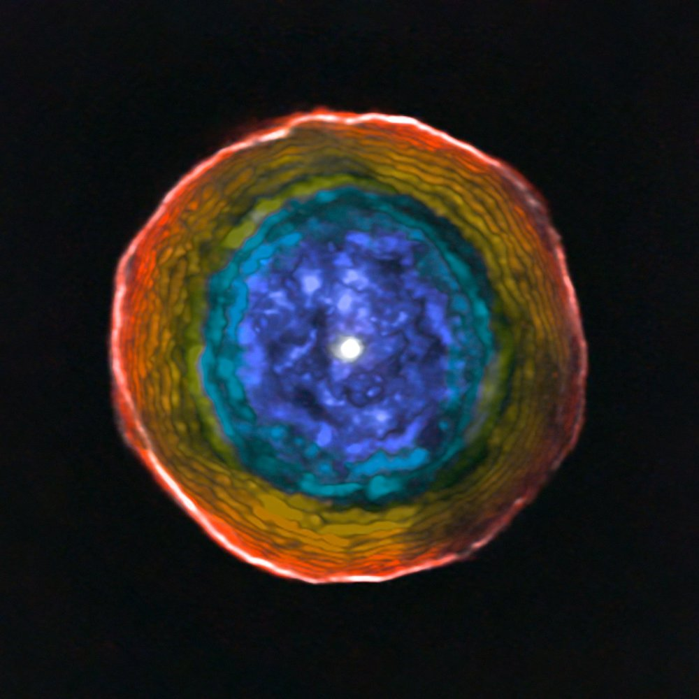 This image was created from ALMA data on the unusual red carbon star U Antliae and its surrounding shell of material. The colours show the motion of the glowing material in the shell along the line of sight to the Earth. Blue material lies between us and the central star, and is moving towards us. Red material around the edge is moving away from the star, but not towards the Earth.  For clarity this view does not include the material on the far side of the star, which is receding from us in a symmetrical manner. - Image Credit: ALMA (ESO/NAOJ/NRAO), F. Kerschbaum