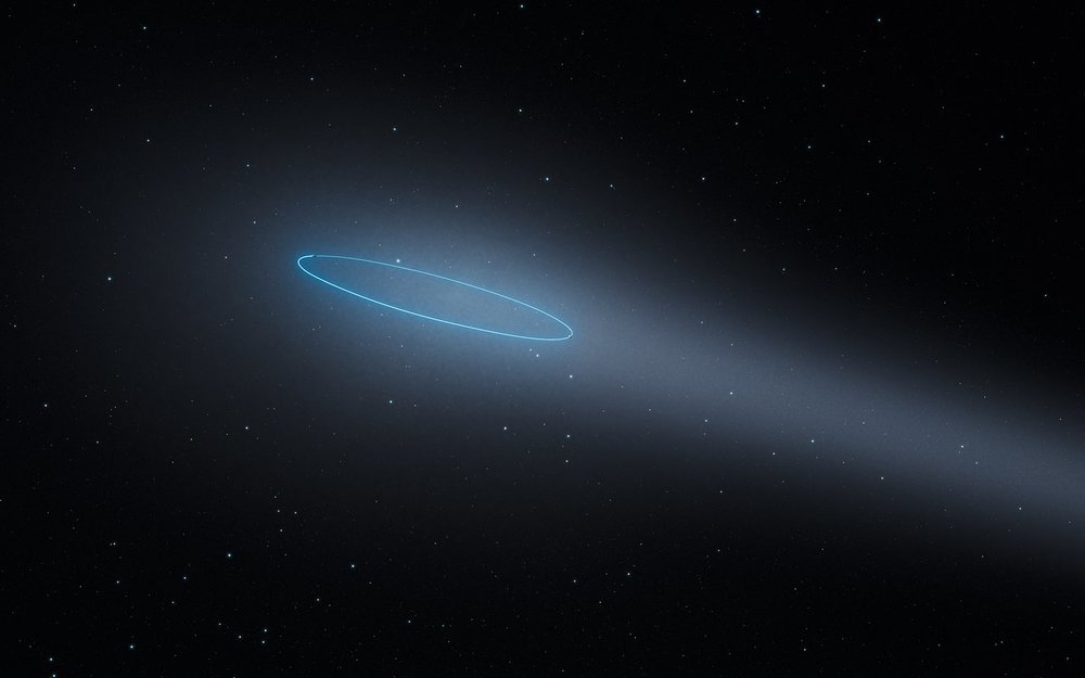 This artist's impression shows the binary asteroid 288P, located in the main asteroid belt between the planets Mars and Jupiter. The object is unique as it is a binary asteroid which also behaves like a comet. The comet-like properties are the result of water sublimation, caused by the heat of the Sun. The orbit of the asteroids is marked by a blue ellipse. - Image Credit: ESA/Hubble, L. Calçada.