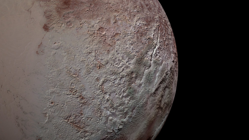 Pluto's bladed terrain as seen from New Horizons during its July 2015 flyby. - Image Credits: NASA/JHUAPL/SwRI/Daniel Rutter