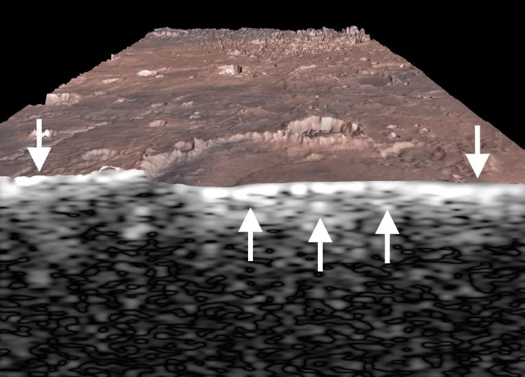 A subsurface view of Miyamoto crater in Meridiani Planum from the MARSIS radar sounder. - Image Credit: ESA/NASA/JPL/KU/Smithsonian