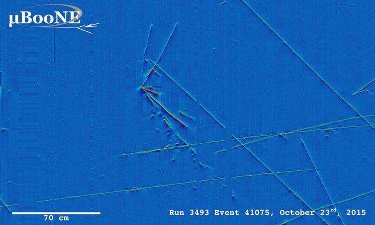 Neutrino event in liquid argon. - Image Credit: MicroBooNE