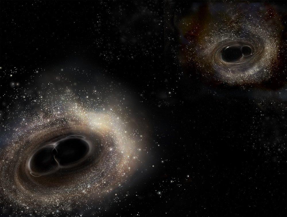 Artist's impression of merging binary black holes. - Image Credit: LIGO/A. Simonnet.