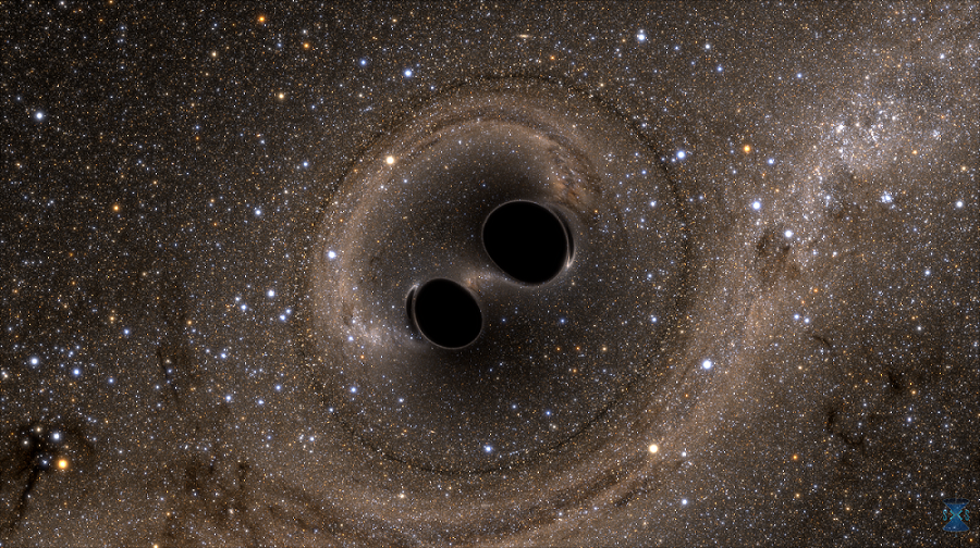 Artist's impression of two merging black holes, which has been theorized to be a source of gravitational waves. - Image Credit: Bohn, Throwe, Hébert, Henriksson, Bunandar, Taylor, Scheel/SXS