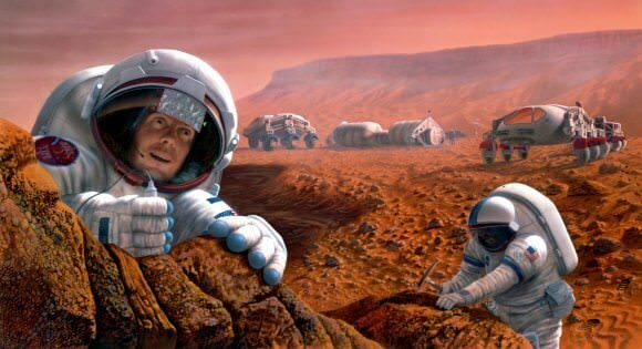 Artist's impression of astronauts exploring the surface of Mars. - Image Credit: NASA/JSC/Pat Rawlings, SAIC
