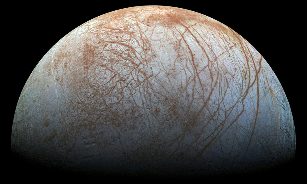 Jupiter's moon, Europa, is believed to conceal a buried ocean. - Image Credit: NASA/JPL-Caltech/SETI Institute