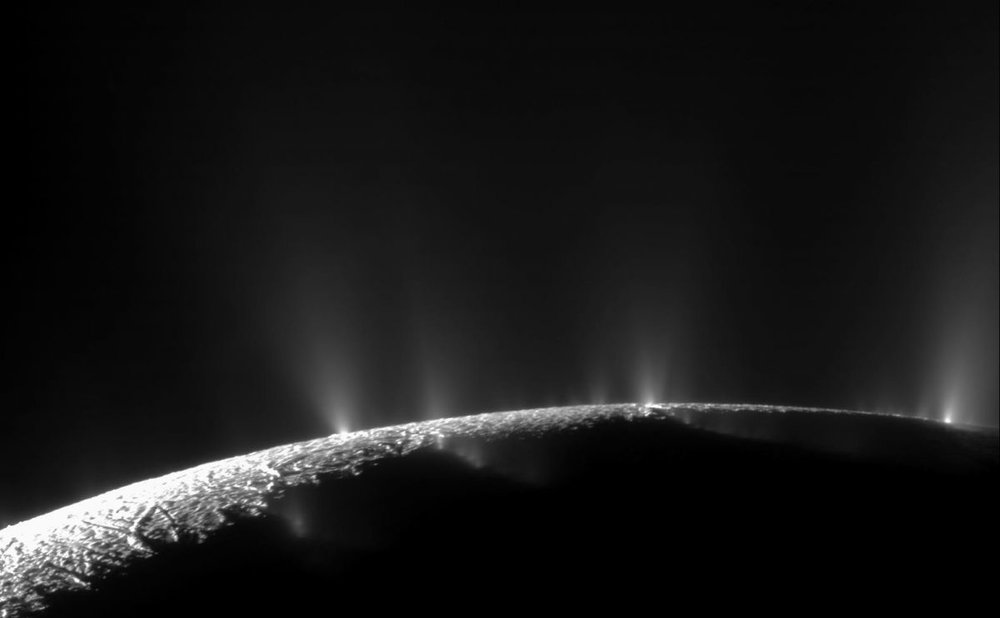 Icy plumes on Enceladus. - Image credit: NASA