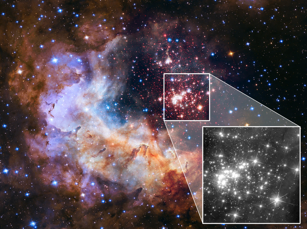This image of the Westerlund 2 cluster includes both visible- and infrared-light observations from Hubble, and was released in 2015 as part of the Hubble Space Telescope's 25th anniversary. The highlighted area, featuring the cluster of stars, was created from visible-light and near-infrared exposures. The black-and-white zoomed portion shows a new image of the star cluster in only one infrared wavelength. This image was taken as part of astronomer Elena Sabbi's preparatory science project, one of many such observations astronomers will use to identify potential targets for NASA's James Webb Space Telescope. - Image Credits: NASA, ESA, the Hubble Heritage Team (STScI/AURA), A. Nota (ESA/STScI), E. Sabbi (ESA/STScI), and the Westerlund 2 Science Team
