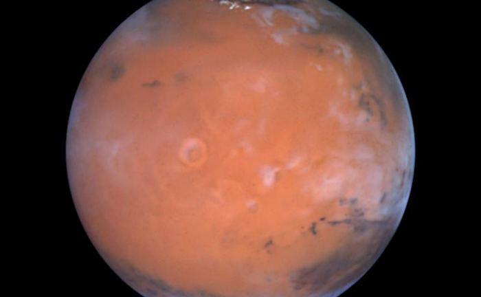 Equator A new paper suggests hydrogen-possibly water ice-in the Medusa Fossae area of Mars, which is in an equatorial region of the planet to the lower left in this view. - Image Credit: Steve Lee (University of Colorado), Jim Bell (Cornell University), Mike Wolff (Space Science Institute), and NASA