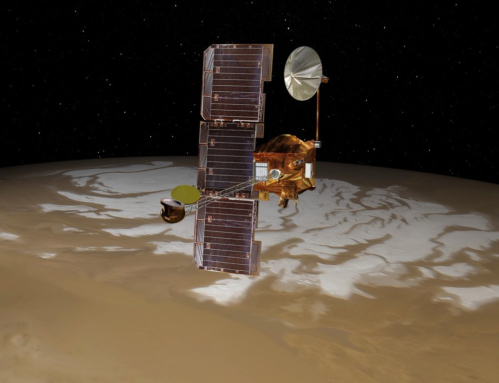 Artist's conception of the Mars Odyssey spacecraft. - Image Credit: NASA/JPL