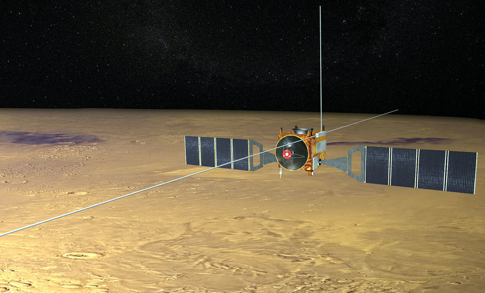 The MARSIS instrument on the Mars Express is a ground penetrating radar sounder used to look for subsurface water and ice. - Image Credit: ESA
