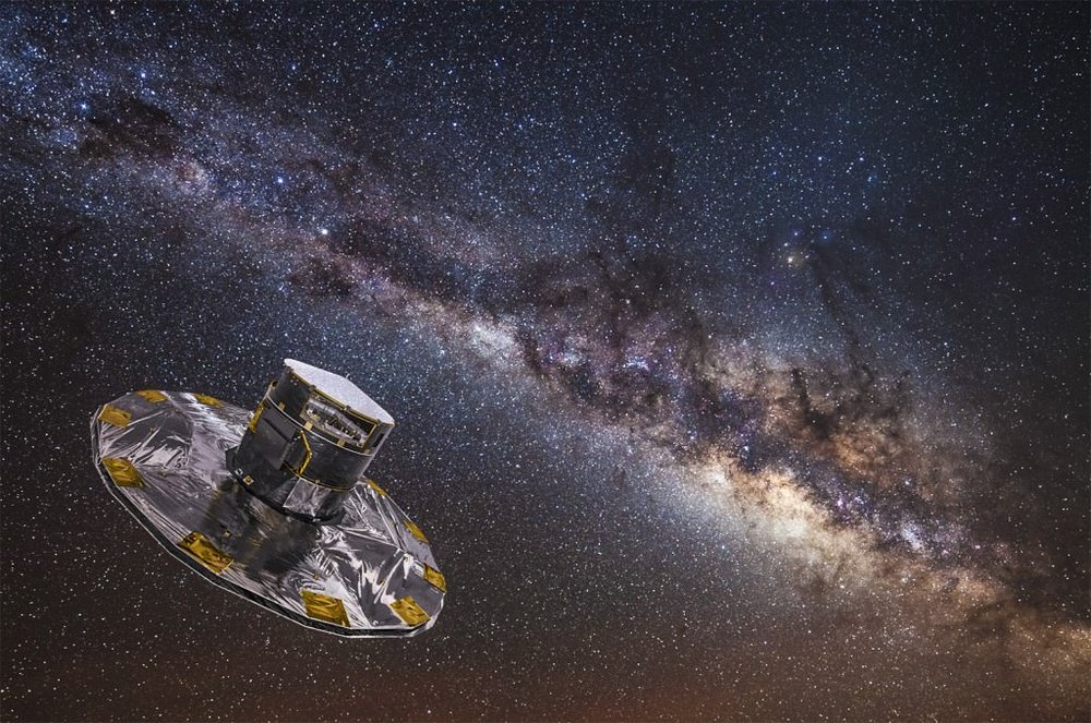 Gaia mapping the stars of the Milky Way. - Image Credit: ESA/ATG medialab; background: ESO/S. Brunier