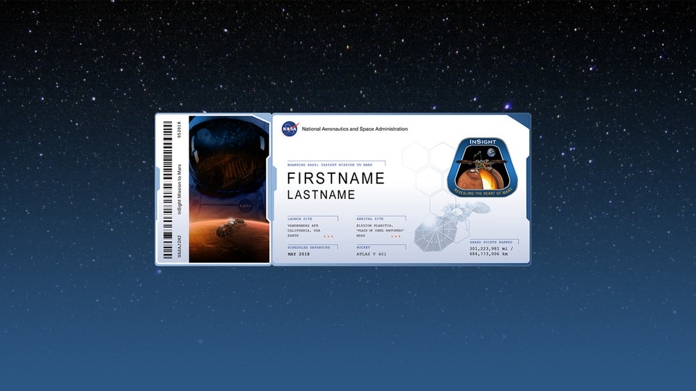 "An example of a ""boarding pass"" that members of the public can download by participating in NASA's Frequent Fliers program. With each NASA mission that flies their names, individuals can accumulate ""miles"" on their boarding pass. - Image Credits: NASA/JPL-Caltech"