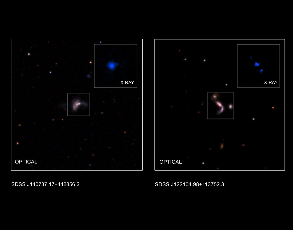 This graphic shows two of five new pairs of supermassive black holes recently identified by astronomers using a combination of data from NASA's Chandra X-ray Observatory, the Wide-Field Infrared Sky Explorer Survey (WISE), and the ground-based Large Binocular Telescope in Arizona. - Image Credits: X-ray (J122104): NASA/CXC/George Mason Univ./S.Satyapal et al.; X-ray (J140737): NASA/CXC/Univ. of Victoria/S.Ellison et al.; Optical: SDSS; Illustration: NASA/CXC/A.Hobart