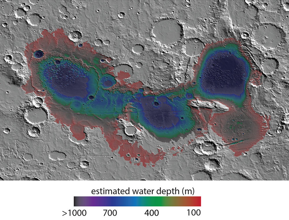 The Eridania basin of southern Mars is believed to have held a sea about 3.7 billion years ago, with seafloor deposits likely resulting from underwater hydrothermal activity. This graphic shows estimated depths of water in that ancient sea. The map covers an area about 530 miles wide. - Image Credits: NASA