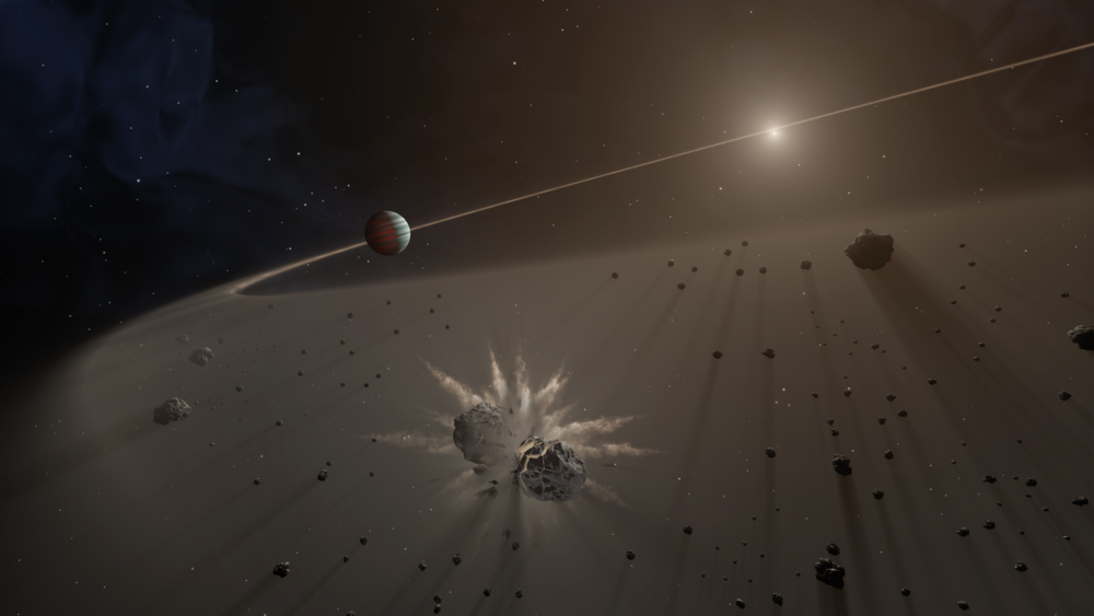 This artist's rendering shows a large exoplanet causing small bodies to collide in a disk of dust. - Image Credit: NASA/JPL-Caltech