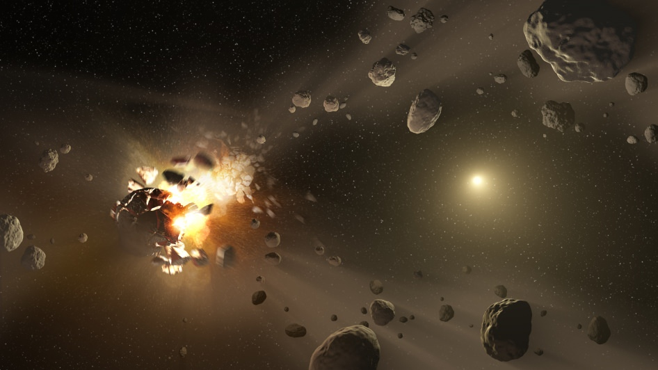 This artist's conception shows how collisions between planetesimals can create additional debris. - Image Credit: NASA/JPL-Caltech