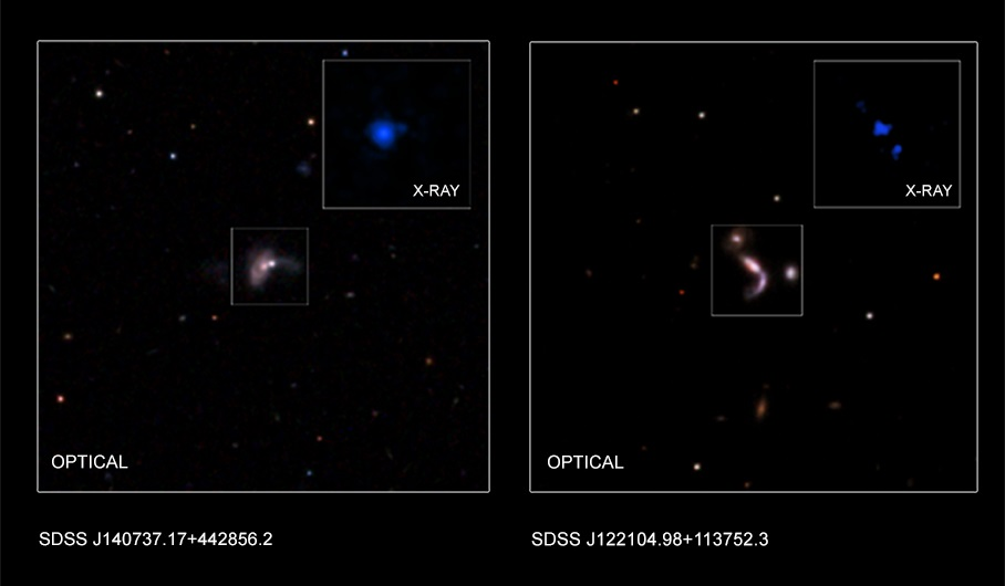 Optical and x-ray data on two of the new black hole pairs discovered. - Image Credit: NASA/CXC/Univ. of Victoria/S.Ellison et al./George Mason Univ./S.Satyapal et al./SDSS