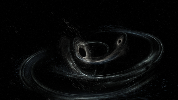 Artist's conception of two merging black holes, similar to those detected by LIGO on January 4th, 2017. - Image Credit: LIGO/Caltech