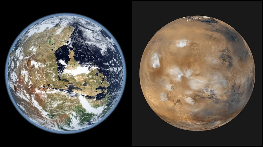 Was Mars warm and watery (i.e. a blue planet?) or an ice ball that occasionally experienced melting? - Image Credit: Kevin Gill