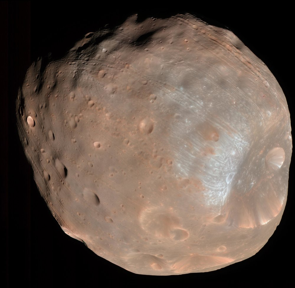 The High Resolution Imaging Science Experiment (HiRISE) camera on NASA's Mars Reconnaissance Orbiter took two images of the larger of Mars' two moons, Phobos, within 10 minutes of each other on March 23, 2008. This is the first. - Image Credits: NASA/JPL-Caltech/University of Arizona