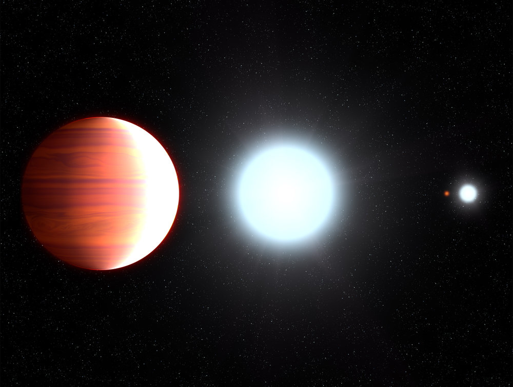 This illustration shows the seething hot planet Kepler-13Ab that circles very close to its host star, Kepler-13A. On the nighttime side the planet's immense gravity pulls down titanium oxide, which precipitates as snow. Seen in the background is the star's binary companion, Kepler-13B, and the third member of the multiple-star system is the orange dwarf star, Kepler-13C. - Image Credit: NASA, ESA, and G. Bacon (STScI)
