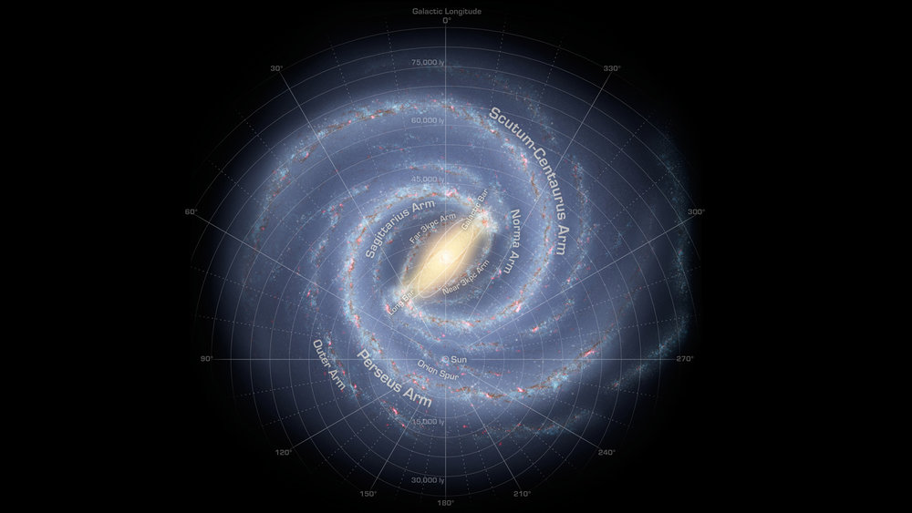 This artist's concept depicts the most up-to-date information about the shape of our own Milky Way galaxy. We live around a star, our sun, located about two-thirds of the way out from the center. - Image credit: NASA/JPL-Caltech/R. Hurt (SSC/Caltech)