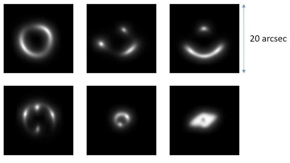 A sample of the handmade photos of gravitational lenses that the astronomers used to train their neural network. - Image Credit: Enrico Petrillo/Rijksuniversiteit Groningen